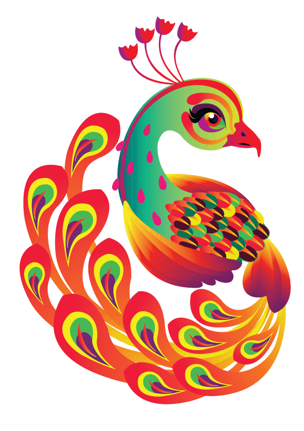 Colorful Peacock T-shirt Design