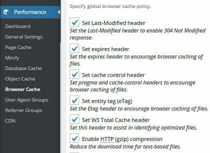 WordPress W3 Total Cache browser cache settings